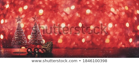 Dark Christmas Greeting with Baubles and Bokeh Stock photo © derocz