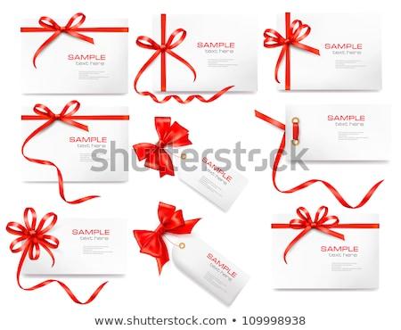 blank gift tag red ribbon bow ribbon stock photo © cammep