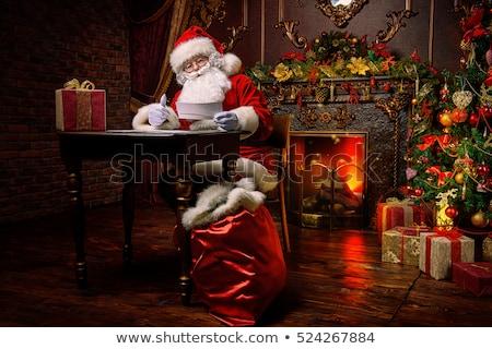 Сток-фото: веселый · Рождества · Дед · Мороз · подарок · настоящее · снега