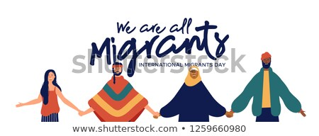 Migrants Day card of mix cultures friends together Stock photo © cienpies