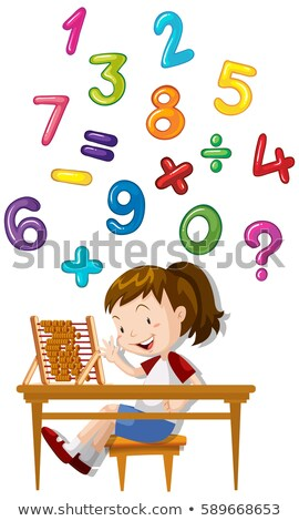 Girl counting number nine Stock photo © colematt