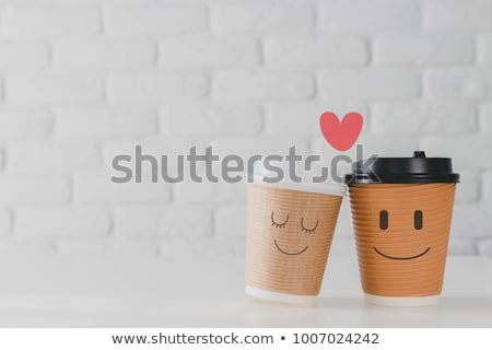Miłości kawy romans pary kredy Zdjęcia stock © grafvision