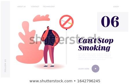 Roken sigaretten landing pagina zakenvrouw wijzend Stockfoto © RAStudio