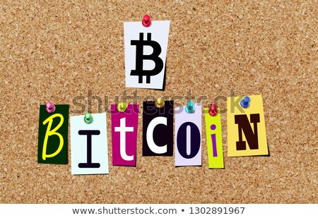 Bitcoin символ слово пробка иллюстрация Сток-фото © nasirkhan