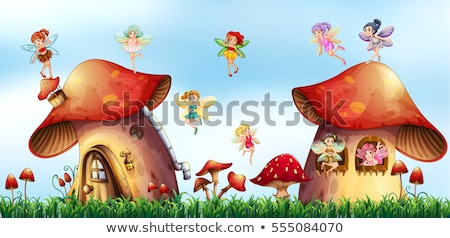 scene with fairies flying around mushroom houses stock photo © colematt