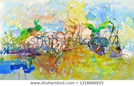 Watercolor with with rabbits in the dense grass Stock photo © Ustofre9