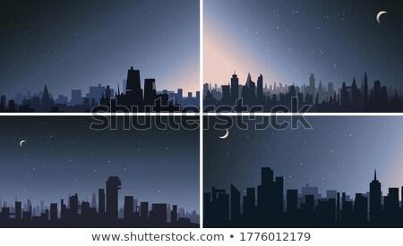 Conjunto cena noturna ilustração céu casa edifício Foto stock © colematt