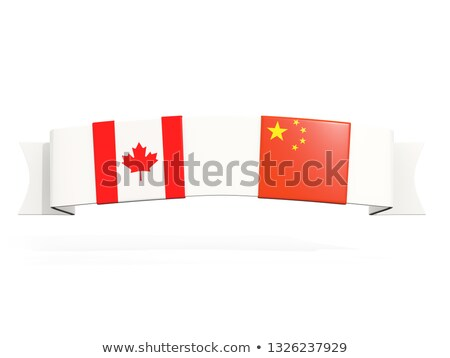 Banner with two square flags of canada and china Stock photo © MikhailMishchenko