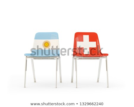 Two chairs with flags of Argentina and switzerland Stock photo © MikhailMishchenko