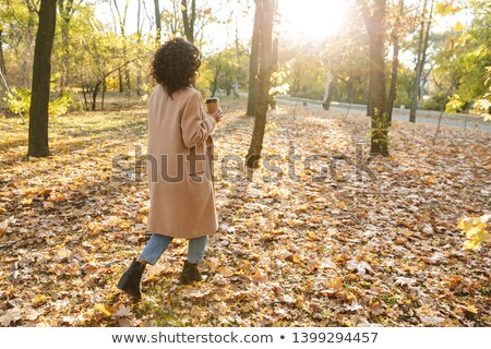Back view photo of african young woman walking outdoors Stock photo © deandrobot