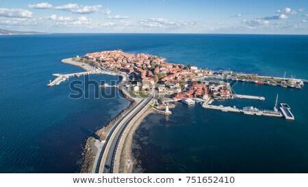 kilátás · gyönyörű · tenger · város · Bulgária · tengerpart - stock fotó © nenovbrothers