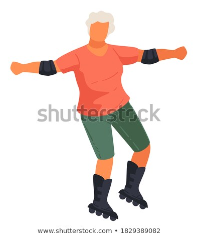 smiling aged male rollerblading sport vector stock photo © robuart