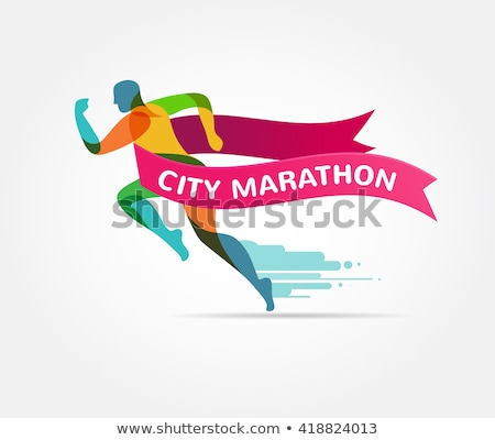 を実行して マラソン アイコン シンボル リボン バナー ストックフォト © marish