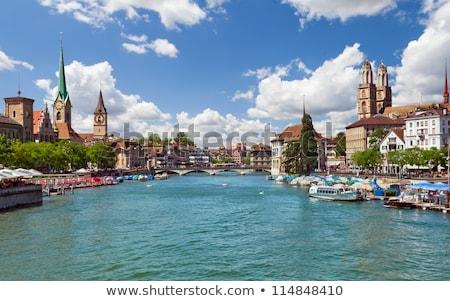 Stockfoto: Rivier · Zürich · Zwitserland · kerk · water