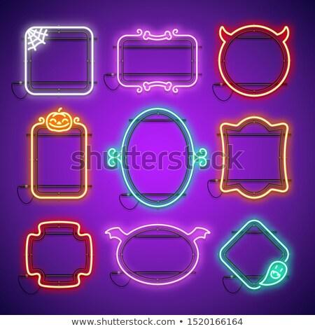 Halloween neon çerçeve web örümcek komik Stok fotoğraf © Voysla