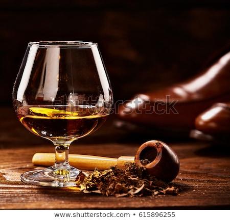 Foto stock: Tubo · vidro · conhaque · madeira · beber · jantar
