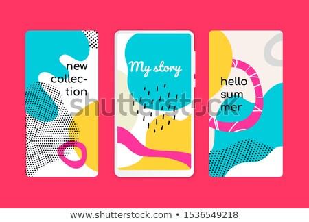 Merhaba yaz karikatür şablonları ayarlamak hareketli Stok fotoğraf © Decorwithme