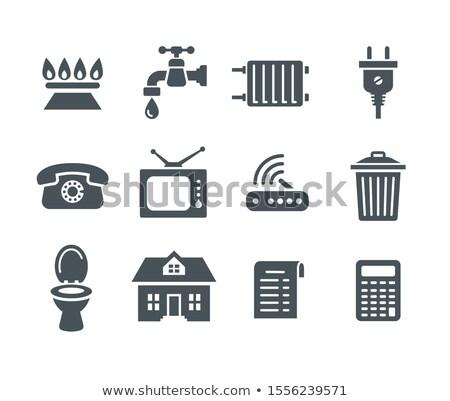 Gospodarstwo domowe usług użyteczność płatność ustawy ikona Zdjęcia stock © vectorikart