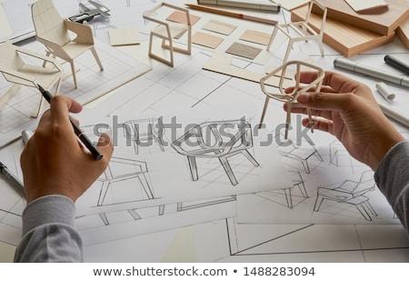 Meubles production travailleur bois surface Photo stock © olira