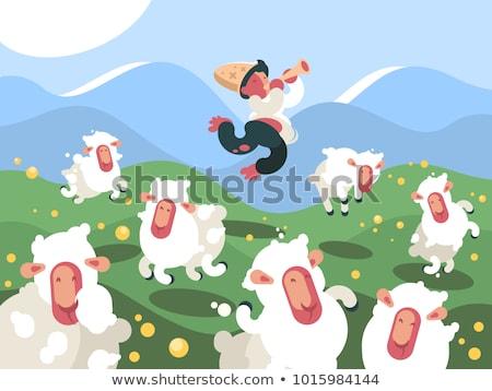 Herder kudde schapen groene weide illustratie Stockfoto © jossdiim