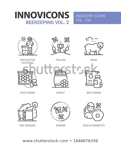 Beekeeping industry - modern line design style icons Stock photo © Decorwithme