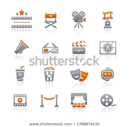 Filmipar színház ikonok grafit vektor háló Stock fotó © Palsur