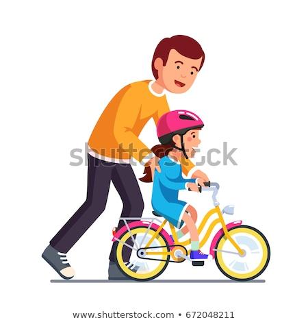 Boldog gyerekek biciklizik terv stílus illusztráció Stock fotó © Decorwithme