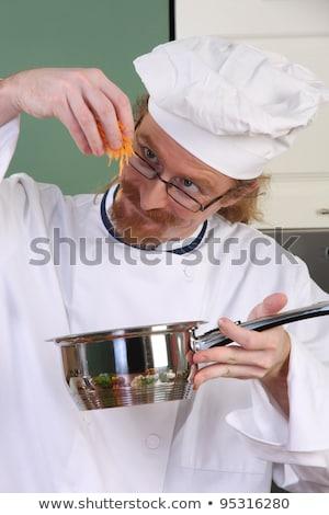 vicces · fiatal · szakács · edény · étel · vacsora - stock fotó © vladacanon