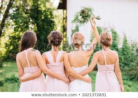 mooie · vrouw · jurk · bloemen - stockfoto © dolgachov