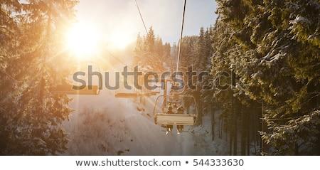alpesi · lift · hegyek · nő · égbolt · lány - stock fotó © macsim