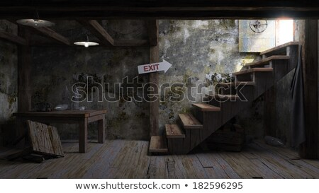 Ancient Concept Room Shelter Interior With Signboard Stok fotoğraf © denisgo