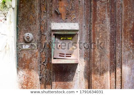 ржавые · почтовый · ящик · старые · стены · служба · оранжевый - Сток-фото © elxeneize