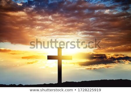katolikus · kereszt · sziluett · temető · alkonyat · sziget - stock fotó © smithore