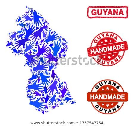 Guyana piros pecsét felirat izolált fehér Stock fotó © tashatuvango