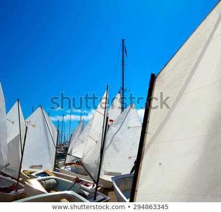 Sailboats school with sail textures in blue sky Stock photo © lunamarina