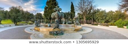 фонтан · патио · покрытый · пустыне · юго-запад · дерево - Сток-фото © rmbarricarte