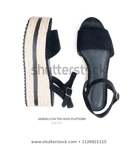 par · feminino · couro · sandálias · isolado - foto stock © GeniusKp