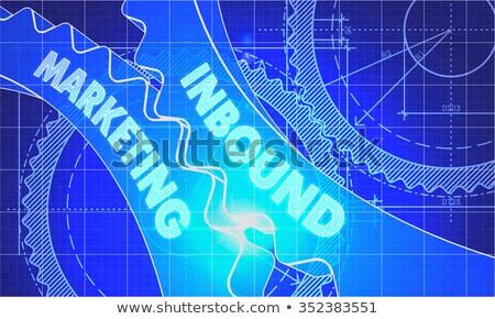 interactieve · marketing · versnellingen · blauwdruk · stijl · mechanisme - stockfoto © tashatuvango