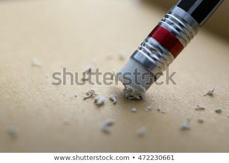 Kalem silgi beyaz ahşap okul geri Stok fotoğraf © njnightsky