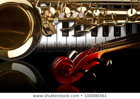 Szaxofon zongora szaxofon helyszín poszter háttér Stock fotó © Bigalbaloo