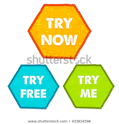 Try Now Try Free Try Me In Grunge Flat Design Hexagons Labels Foto stock © marinini