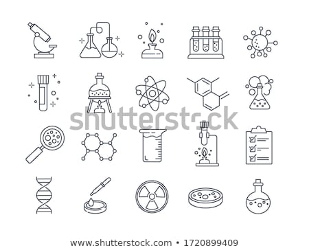 икона химии элемент кнопки дизайна Сток-фото © angelp