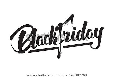 black · friday · kézzel · rajzolt · tinta · ecset · kalligráfia · izolált - stock fotó © Anna_leni