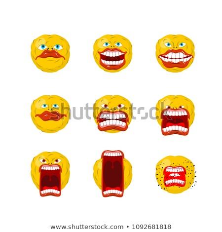 Emoticon set. Open mouth and teeth. Crazy Emoji. Emotion screams Stock photo © MaryValery