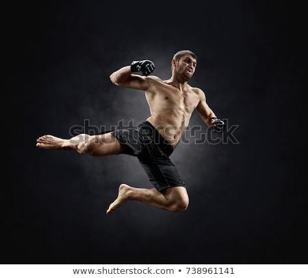 Kaukázusi férfi vadászrepülő portré jóképű vegyes Stock fotó © handmademedia