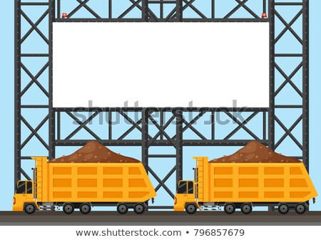 Border template with two lorry trucks Stock photo © bluering
