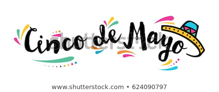 cinco de mayo card template with hat and flags stock photo © bluering