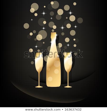 エレガントな · 眼鏡 · ボトル · 黄色 · シャンパン · 泡 - ストックフォト © denismart