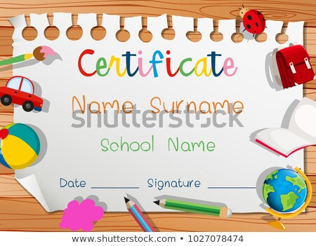 certificate template with many toys stock photo © bluering