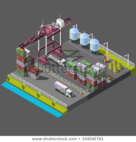 Morza portu Żuraw izometryczny 3D Zdjęcia stock © studioworkstock